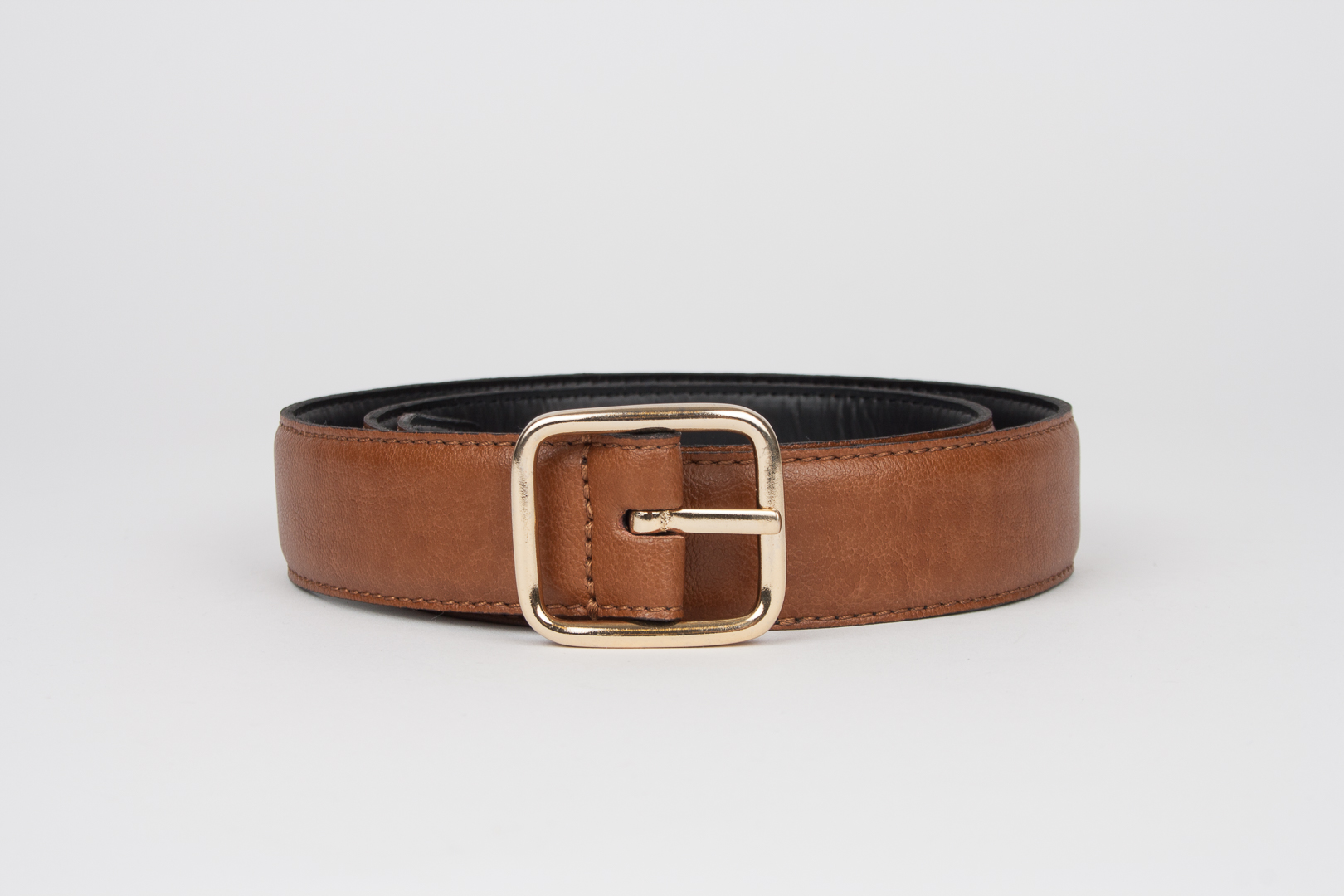 Geometric 3cm Belt Brown